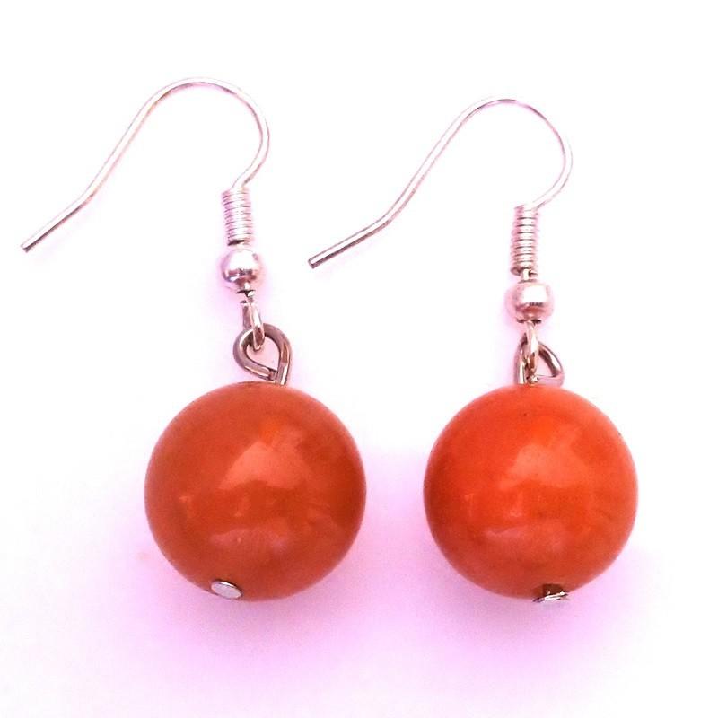 boucle d 39 oreille en aventurine orange bijoux en pierre lithoth rapie. Black Bedroom Furniture Sets. Home Design Ideas