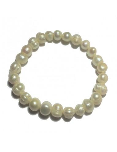 Bracelet Perle Blanche Irrégulière